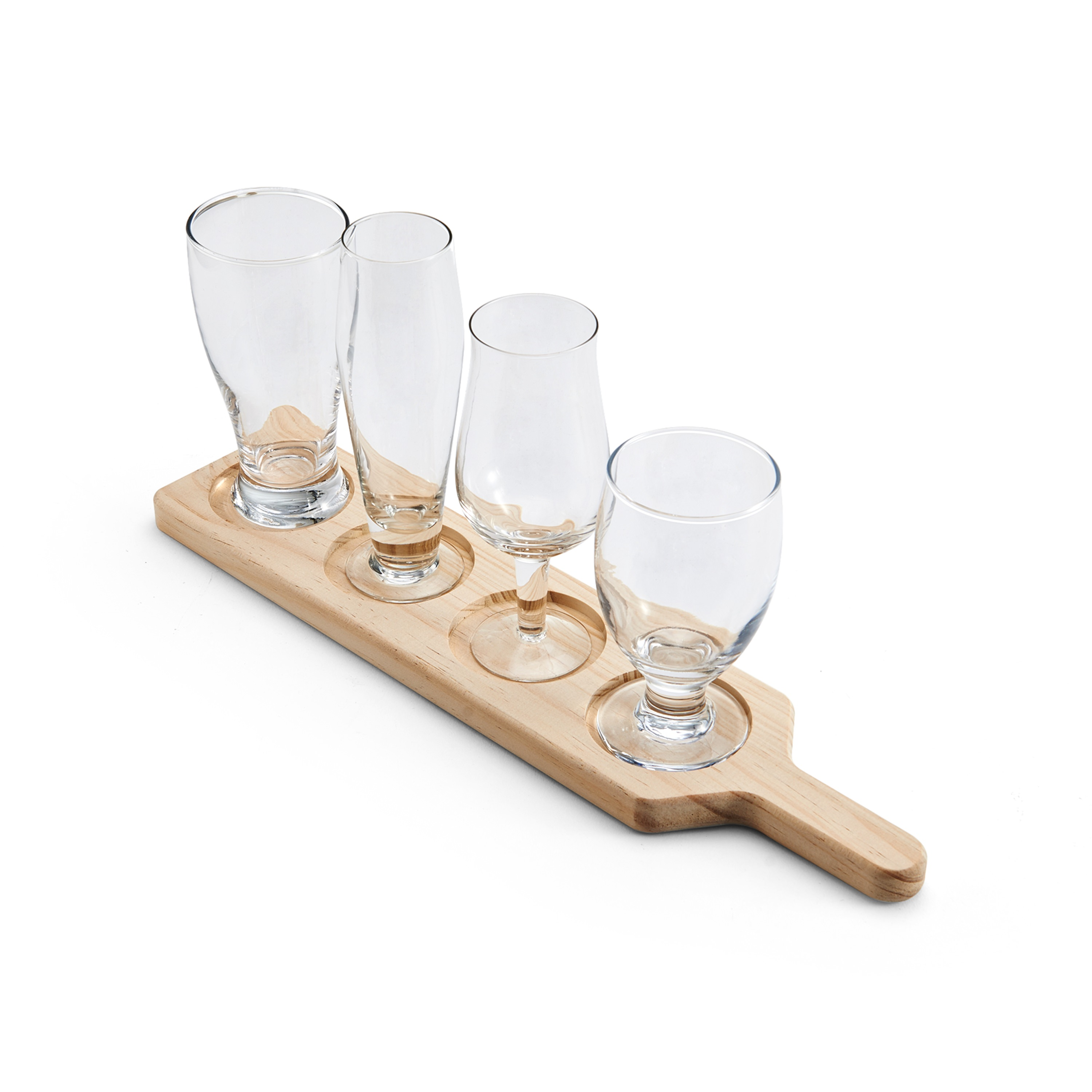Elements Set of 4 Beer Glasses with Wood Stand by Lifetime Brands