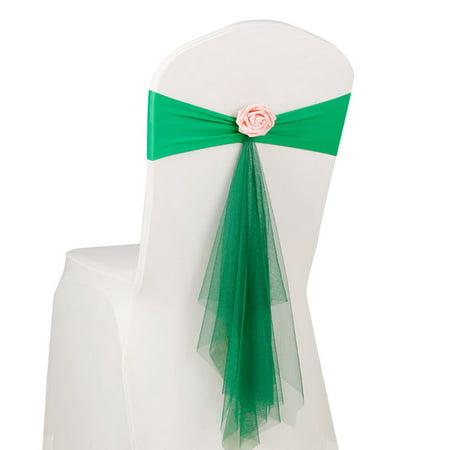 Flower Sash (Bowknot Flower Chair Ribbon No-tie Chair Bow Sash Wedding Chair Cover Chair Back)