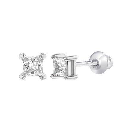 925 Sterling Silver Solitaire Square CZ Screw Back Earrings for Children