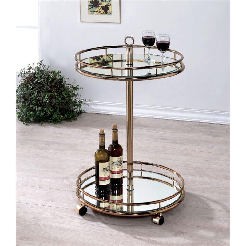 Furniture of America Eleanor Modern Mirror Bar Cart in Champagne