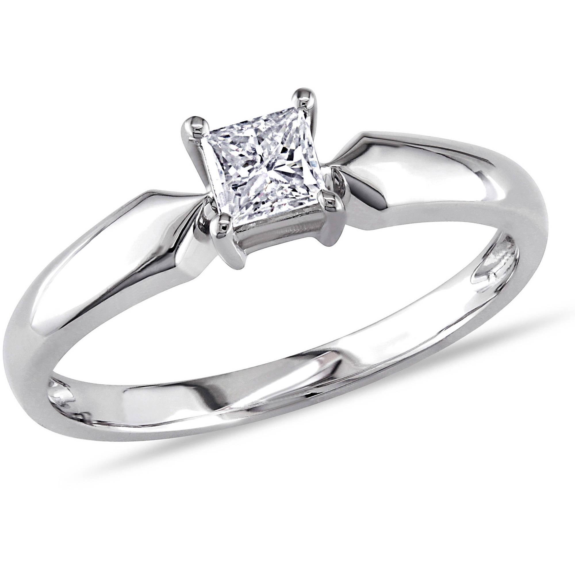 Miabella 1/3 Carat T.W. Princess Cut Diamond Solitaire Ring in 10kt White Gold