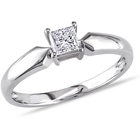 Miabella 1/3 Carat T.W. Princess Cut Diamond Solitaire Ring in 10kt White Gold