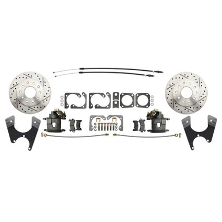 GM A Body 10/12 Bolt Rear End Disc Brake Conversion Kit w/ Drilled & Slotted Rotors (1964-1972