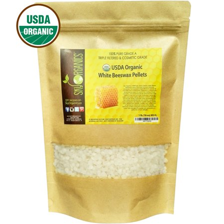 USDA Organic White Beeswax Pellets by Sky Organics (1lb) -Superior Quality Pure Bees Wax No Toxic Pesticides or Chemicals - 3 x Filtered, Easy Melt Pastilles- For DIY, Candles, Skin