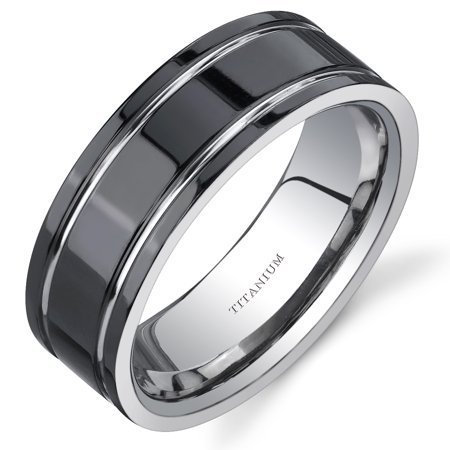 Men's 8mm Black and Silver Tone Comfort Fit Wedding Band Ring in Titanium Black Titanium Tension Rings