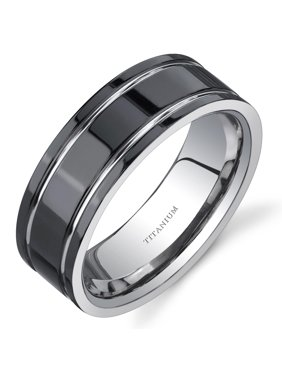 Men's Black and Silver Comfort Fit Titanium Wedding Band Ring, 8 mm