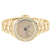 Womens Simulated Diamond Watch Gold Tone Analog Round Stainless Steel Back 38mm