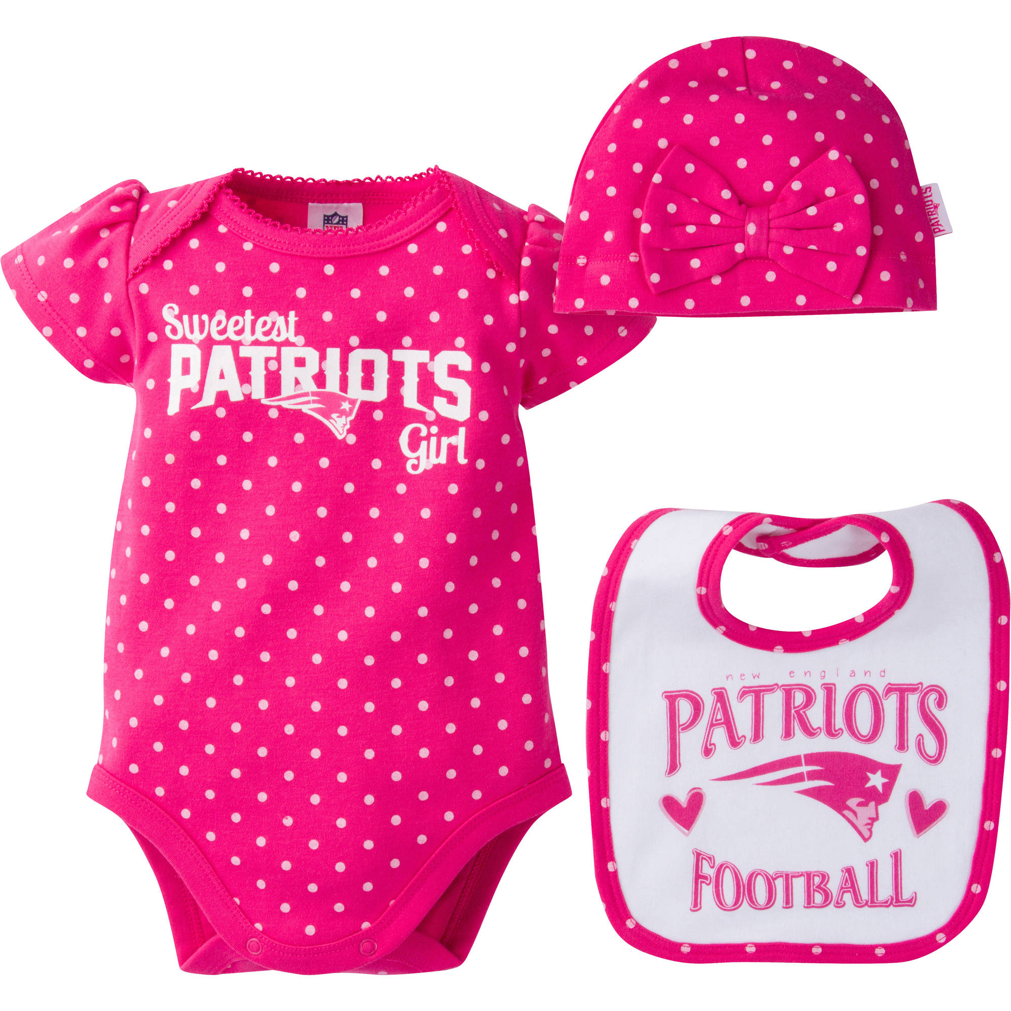 NFL New England Patriots Baby Girls Bodysuit, Bib and Cap Outfit Set, 3-Piece