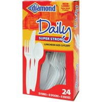 Diamond Daily 24 Piece Luncheon Size Super Strong Cutlery, 1 set