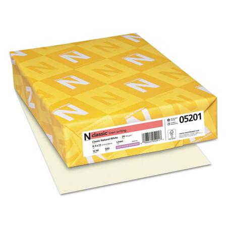 Classic Inkjet - Neenah Paper CLASSIC Linen Writing Paper, 24lb, 8 1/2 x 11, Natural White, 500 Sheets -NEE05201