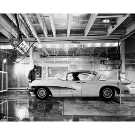 Technician testing a car in extreme cold temperatures at a technical center General Motor Technical Center Warren Michigan USA Stretched Canvas -  (18 x 24)