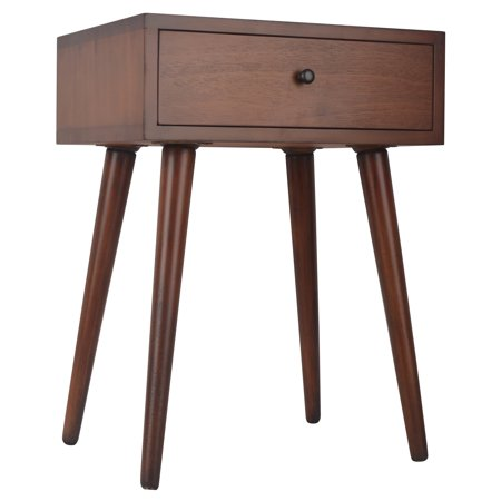 Mid-Century One Drawer Side (French Walnut Side Table)