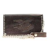 Nocona Western Wallet Mens Leather Checkbook Flag Chain N54134