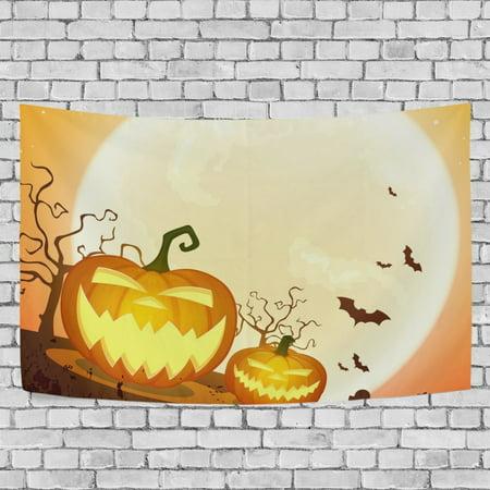 MYPOP Halloween Pumpkins Moonlight Tapestry Wall Hanging Decoration Home Decor Living Room Dorm 60 x 40 inches (Halloween Decorations Living Room)
