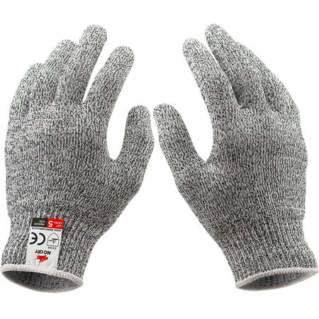 NoCry Cut Resistant Gloves Kitchen Large, TECBOX High Performance CE Level  5 Protection, Food Grade Kitchen and Work Safety Gloves - Size Small, Gray
