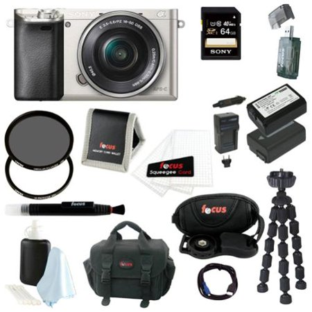 Sony Alpha a6000 24.3 MP Interchangeable Lens Camera with 16-50mm Power Zoom Lens (Silver) + Sony 64GB SD Card + Case + Tiffen 40.5mm UV Protector & Ciruclar Polarizer Filter + Wasabi Power Two Replacement NP-FW 50 Batteries + Charger + Accessory Ki