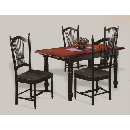 - 5 Pc Butterfly Leaf Dining Table Set (Black & Cherry)