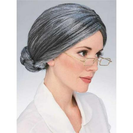 Halloween Grey Bun Adult Wig - Wigs Funny