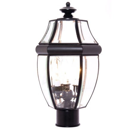 Maxim Lighting South Park - Three Light Outdoor Pole/Post Mount, Black Finish - Clear Glass
