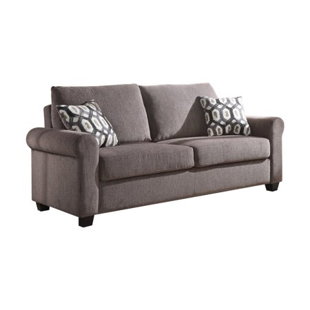 Acme Neveah Gray Chenille Sofa Sleeper With Memory Foam Mattress