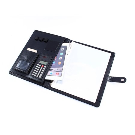 Business Zippered Portfolio Padfolio Folder A4 PU Leather Document Case Organizer Card Calculator Holder with Premium Paper Pad ()