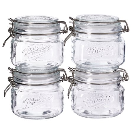 Tiny Mason Jars (Mason Craft and More, Square Glass 0.5 Liter Small Clamp Jar, Set of)