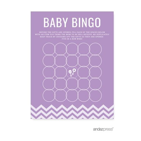 Baby Bingo Game Cards Lavender Chevron Baby Shower Games, 20-Pack
