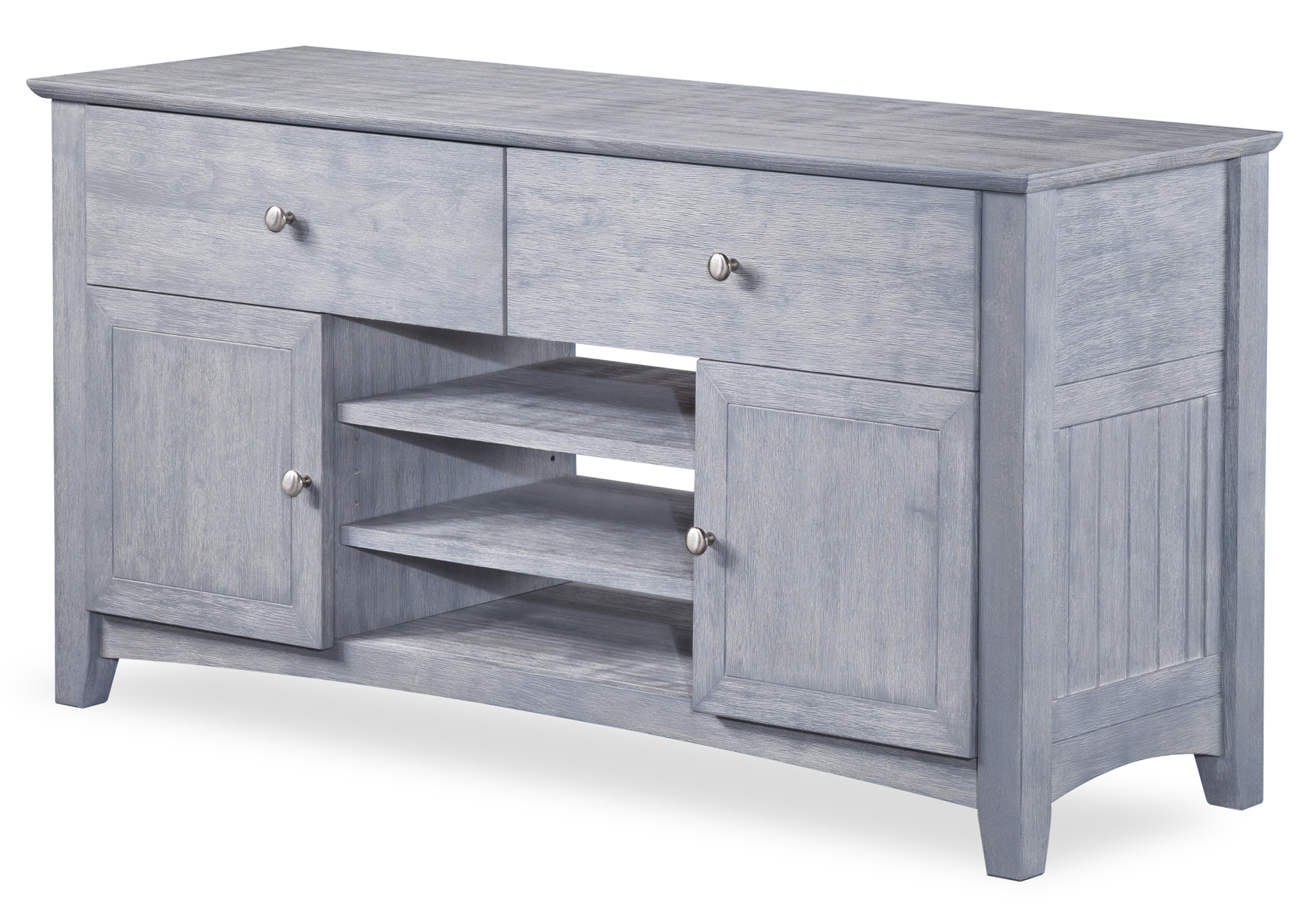 Nantucket 2 Drawer TV Table 26x50 with Adjustable Shelves in Driftwood by Atlantic Furniture