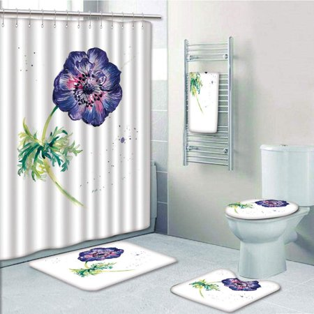 EREHome Anemone Flower Branch of Garden Flower with Watercolor Splashes Nature Inspired 5 Piece Bathroom Set Shower Curtain Bath Towel Bath Rug Contour Mat and Toilet Lid Cover - image 2 de 2