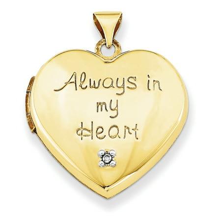 Purse Locket Charm (14k 21mm Heart with Diamond Locket (Heart Charm Inside Locket) XL638)