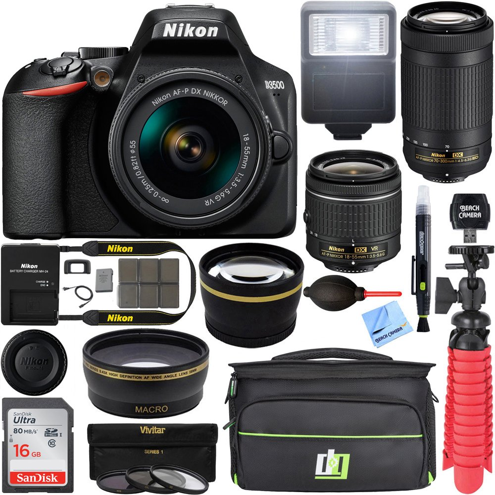Nikon D3500 DSLR Camera w/ AF-P DX 18-55mm & 70-300mm Zoom Lens REFURB 16GB Bundle