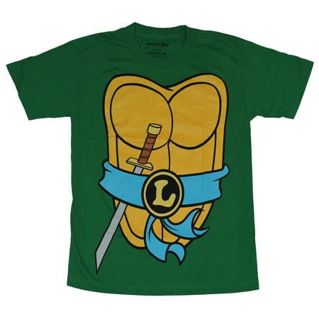 Teenage Mutant Ninja Turtles Mens T-Shirt - Leonardo Costume Front & Shell Back](Ninja Turtles Shell Shirt)