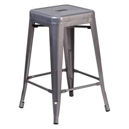 Flash Furniture 24 in. High Backless Clear Coated Metal Indoor Counter Stool with Square (Metal Backless Stools)
