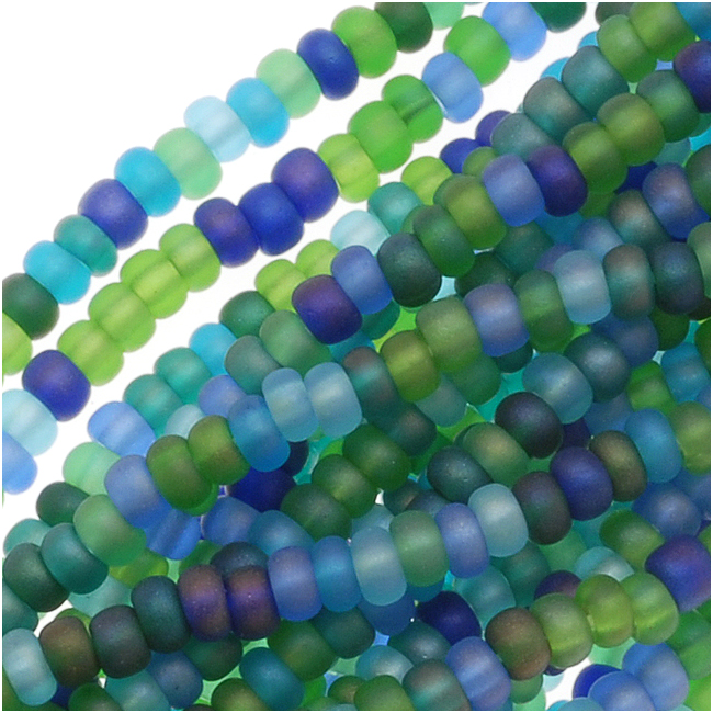 Czech Seed Beads Mix 11/0 Oceanic Matte AB Blue Green (1 Hank/4000 Beads)