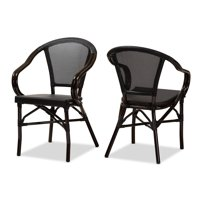 Baxton Studio Indoor and Outdoor Stackable Dining Chair 2-Piece Set by  Black