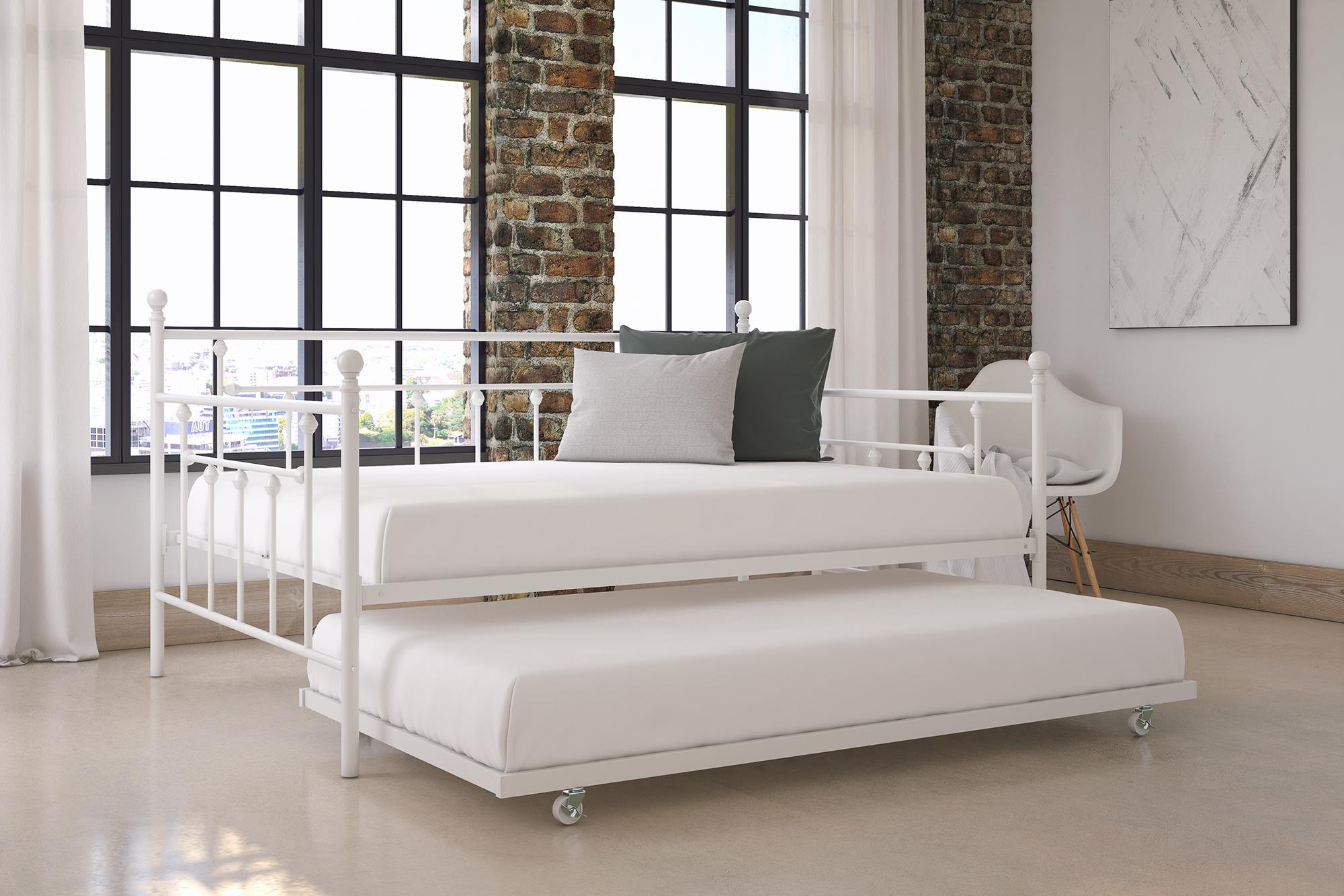 dhp manila full daybed and twin trundle white