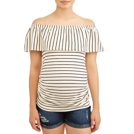 Oh! MammaMaternity stripe off the shoulder knit top - available in plus sizes