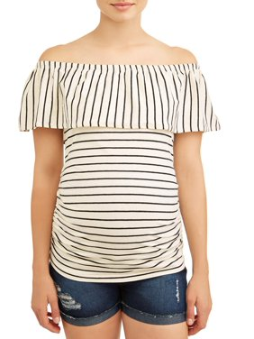 85579b4398e86 Product Image Maternity Stripe Off the Shoulder Knit Top - Available in  Plus Sizes