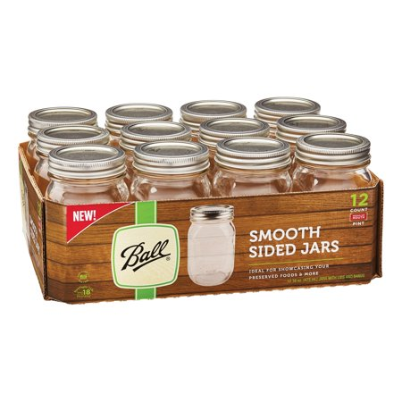 Ball Smooth-Sided Glass Mason Jar w/ Lid & Band, Regular Mouth, 16 ounces, 12 Count - Mini Jars Bulk