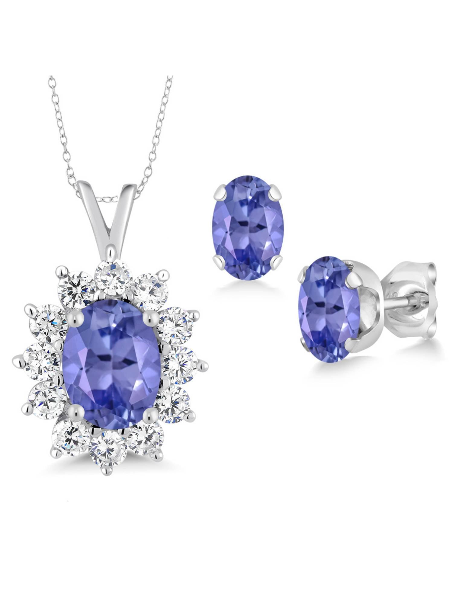2.30 Ct Oval Blue Tanzanite 925 Sterling Silver Pendant Earrings Set by