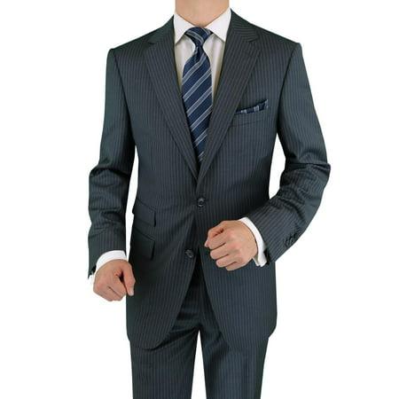 2bfb6d06e0d3e2 LN LUCIANO NATAZZI Italian Men's Suit 180'S Cashmere Wool Ticket Pocket  Stripe Charcoal Stripe - Walmart.com