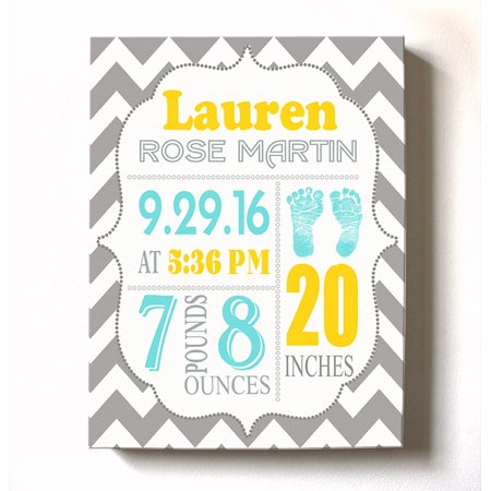 Personalized Canvas Birth Announcement Nursery Decor Gift, Footprint  Design, Custom Name, Date, Weight & Length, Unique Boys & Girls Baby Shower  Wall