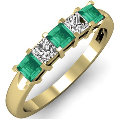 0.75 Carat (ctw) 18K Yellow Gold Princess Cut Green Emerald and White Diamond Ladies 5 Stone Bridal Wedding Band Anniver