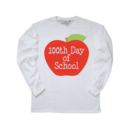 100th Day Of School Apple Long Sleeve T-Shirt (100th Day Of School Shirts)