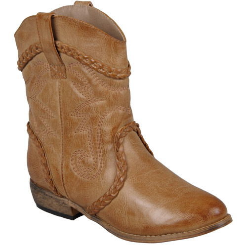 Brinley Co. Women's Distressed Topstitched Cowboy Boots
