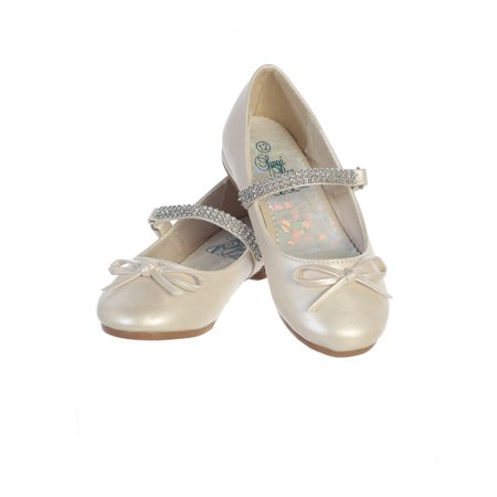Girls Ivory PU Rhinestone Strap Summer Dress Shoes - Ivory Dress Shoes For Girls