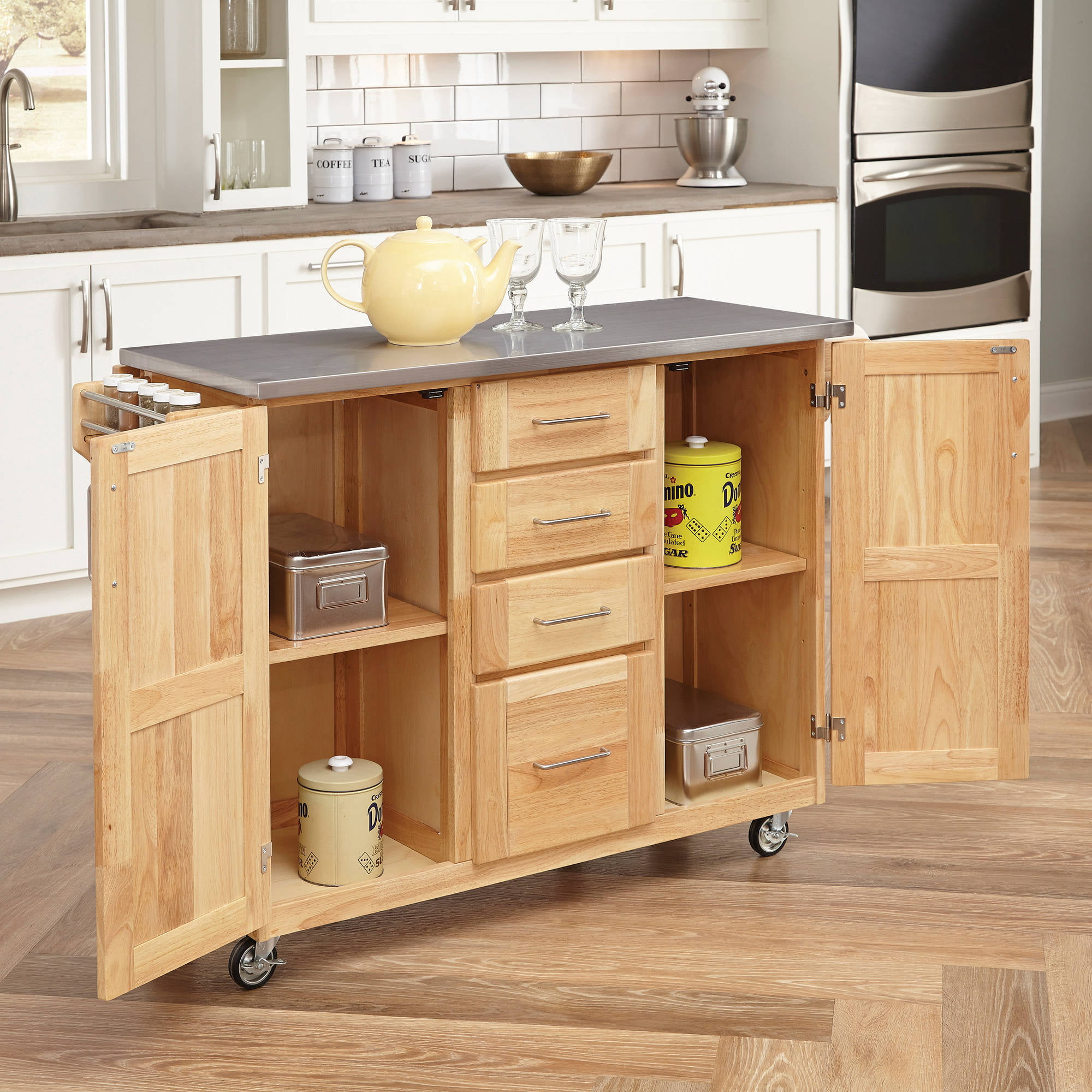 Home Styles Stainless Steel Top Kitchen Cart With Breakfast Bar Walmart Com