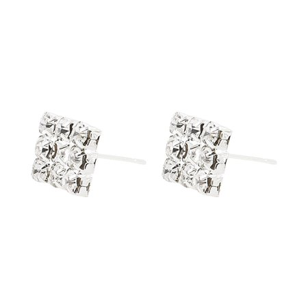 Woman Square Design Faux Rhinestone Accent Ear Nail Earbob Silver Tone Pair