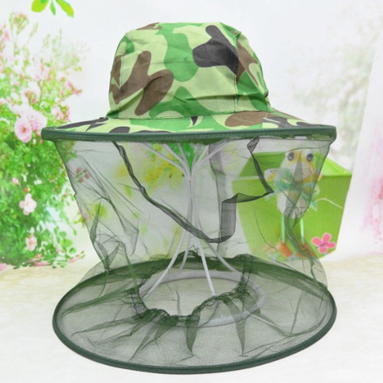 Camo Face Net Camo Head Net Insect Bee Mosquito Resistance Bug Camo Face Mask Head Face Protector Cap Sun Hat by