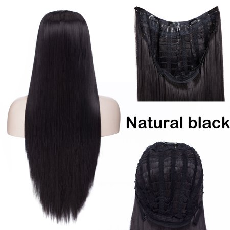 S-noilite U Shape Part Half Head Wig Clip In Hair Extension Full Head One Piece Invisible 7 clips With Wig Net Synthetic Straight Curly Natural (Roma Lee Synthetic Hair Half Wig Sf Faith)